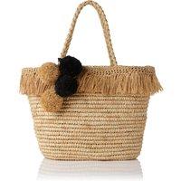 Laurel Brown Raffia Tote Bag