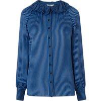 Belle Blue Black Silk Top