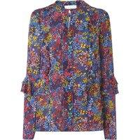 Robin Blue Floral Silk Woven Top