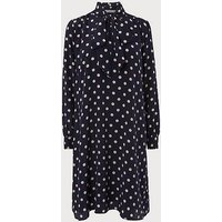 Evia Navy Polka Dot Silk Dress, Blue White
