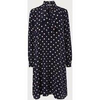 Evia Navy Polka Dot Silk Dress, Blue White