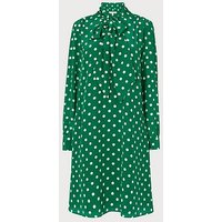 Evia Green Polka Dot Silk Dress, Green