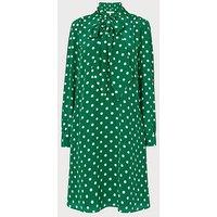Evia Green Polka Dot Silk Dress, Green