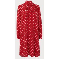 Evia Red Polka Dot Silk Dress, Red