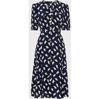 Montana Navy Sail Print Silk Tea Dress, Blue Multi