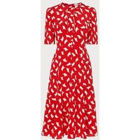 Montana Red Sail Print Silk Tea Dress, Red Multi