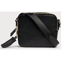 Marion Black Leather Shoulder Bag, Black