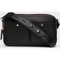 Matilda Black Leather Shoulder Bag, Black
