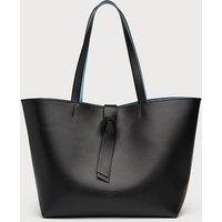 Georgia Black Leather Tote Bag, Black