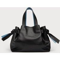 Geraldine Black Leather Tote Bag, Black