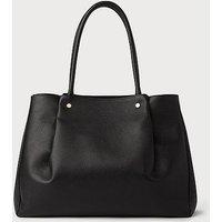 Regan Black Leather Tote Bag, Black