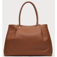Regan Tan Leather Tote Bag, Tan