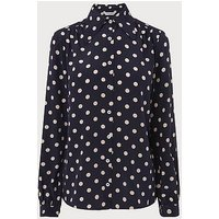 Eryn Navy Polka Dot Silk Blouse, Blue White
