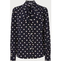 Evy Navy Polka Dot Silk Blouse, Blue White
