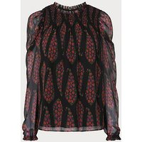 Getty Black Multi Silk Blouse, Black Multi