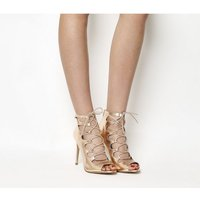 Office Parisian Lace Up High Heel Sandals ROSE GOLD