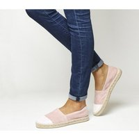 Office Lucky Espadrille With Toe Cap PINK SUEDE GLITTER TOE CAP
