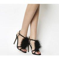 Office Arabella Feather Trim Sandal BLACK