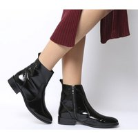shop for Office Ashleigh Flat Ankle Boots SHINY BLACK LEATHER at Shopo