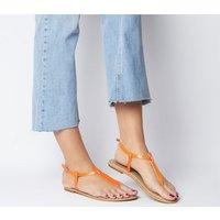 Office Samba Toe Post Sandals ORANGE SNAKE LEATHER