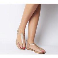 Office Samba Toe Post Sandals ROSE GOLD CROC LEATHER
