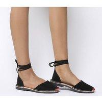 Solillas Ankle Tie Sandal BLACK SUEDE