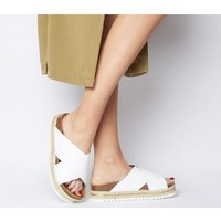 Office Mexico Cross Strap Footbed WHITE WITH GOLD RAND