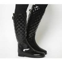 Hunter Refined Quilted Tall Welly BLACK GLOSS