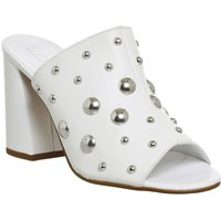 Office Harsh Studded Mule WHITE SILVER STUDS