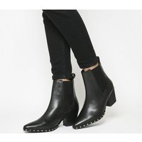 Office Angeles Chelsea Boots BLACK LEATHER SILVER STUDS