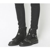 Office Asteroid- Lace Up Buckle Boot BLACK LEATHER SUEDE