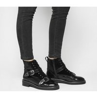 Office Asteroid- Lace Up Buckle Boot BLACK BOX LEATHER VELVET