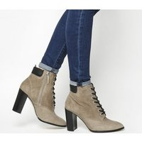 Office Attitude- Lace Up Block Heel Boot TAUPE SUEDE