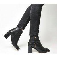 Office Ava- Side Zip Heel Boot BLACK LEATHER