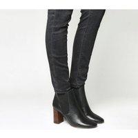 Office Autumn- Block Heel Chelsea Boot BLACK LEATHER COGNAC HEEL