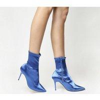 Office Aphrodite- Dressy Stretch Boot BLUE SATIN STRETCH
