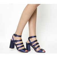 Office Home Time Square Toe Strappy Block NAVY SATIN