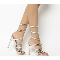 Office Hundred Heel Strippy Sandal SILVER MIRROR