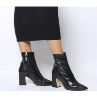 shop for Office Alto- Pointed Block Heel Shape BLACK CROC LEATHER at Shopo