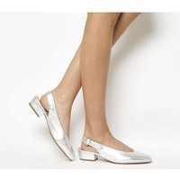 Office Mya Slingback Block Heel SILVER LEATHER
