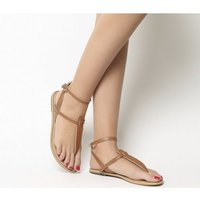 Office Salsa Ankle Strap Toe Post TAN LEATHER