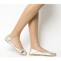 Office Face To Face Peep Toe Shoe GOLD LEATHER