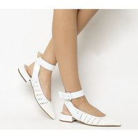 Office Fusion Weave Point Ankle Strap WHITE WOVEN LEATHER