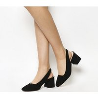 Office Maple Syrup Square Toe Slingback BLACK SUEDE