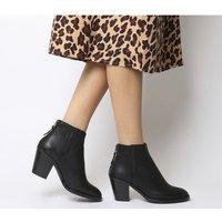 Office Amalfi- Mid Heel Back Zip Western Boot BLACK LEATHER BLACK HEEL