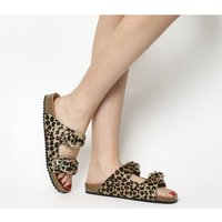 Office Supersonic- Footbed Sandal LEOPARD COW HAIR GOLD HARDWARE