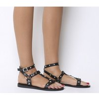 Office Serpent-  Gladiator Sandal With Ankle Strap BLACK LEATHER SILVER PYRAMID STUDS