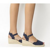 Gaimo for OFFICE Round Wedge Espadrille NAVY SUEDE