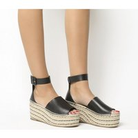 Office Montage Flatform Two Part Wedge BLACK LEATHER