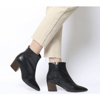 shop for Office Aubergine- Curved Heel Ankle Boot BLACK LEATHER WOOD EFFECT HEEL at Shopo